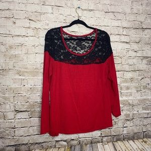 Torrid Red and Black Lace Sweater Top